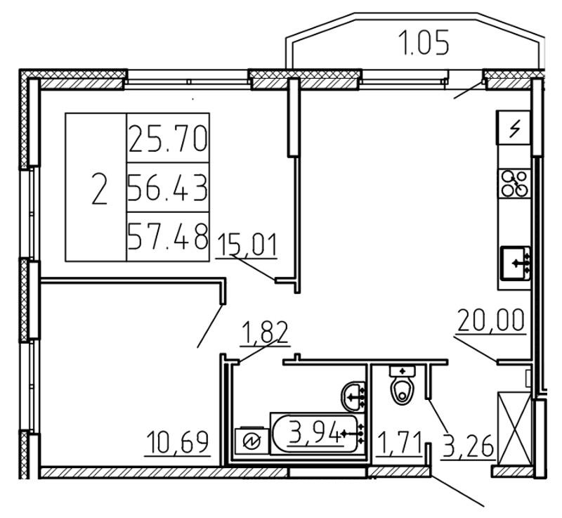 Планировка Трёхкомнатная квартира (Евро) площадью 57.48 кв.м в ЖК «Yoga»