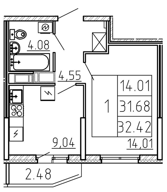 Планировка Однокомнатная квартира площадью 32.42 кв.м в ЖК «Yoga»