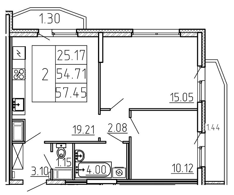 Планировка Трёхкомнатная квартира (Евро) площадью 57.45 кв.м в ЖК «Yoga»