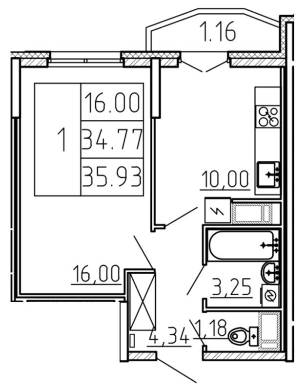 Планировка Однокомнатная квартира площадью 35.93 кв.м в ЖК «Yoga»