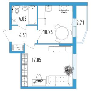 Планировка Однокомнатная квартира площадью 37.61 кв.м в ЖК «Йога 2»