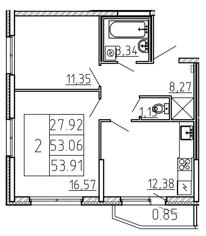 Планировка Двухкомнатная квартира площадью 53.91 кв.м в ЖК «Yoga»