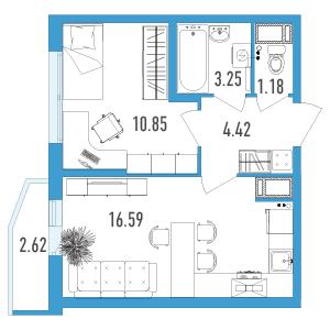 Планировка Однокомнатная квартира площадью 37.08 кв.м в ЖК «Йога 2»