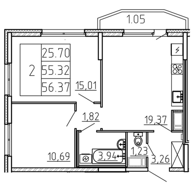 Планировка Трёхкомнатная квартира (Евро) площадью 56.37 кв.м в ЖК «Yoga»