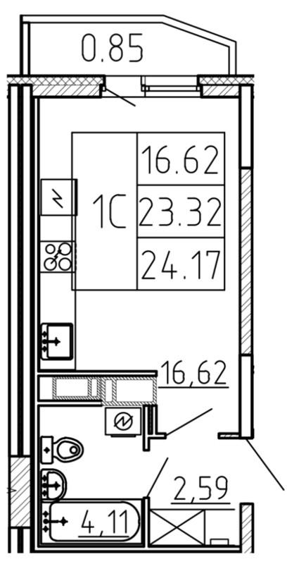 Планировка Студия площадью 24.17 кв.м в ЖК «Yoga»
