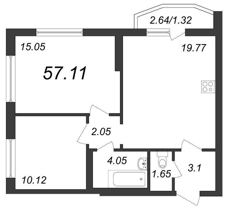 Планировка Двухкомнатная квартира площадью 57.11 кв.м в ЖК «Yoga»