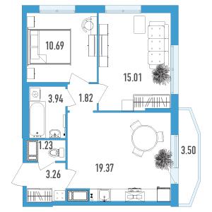 Планировка Двухкомнатная квартира площадью 56.37 кв.м в ЖК «Йога 2»