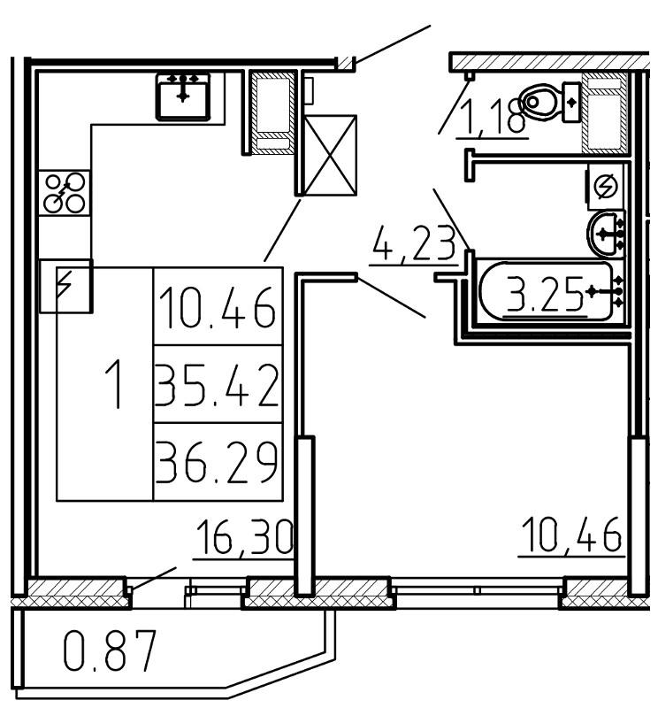 Планировка Двухкомнатная квартира (Евро) площадью 36.29 кв.м в ЖК «Yoga»