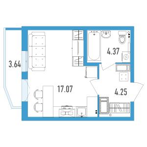 Планировка Однокомнатная квартира площадью 26.78 кв.м в ЖК «Йога 2»