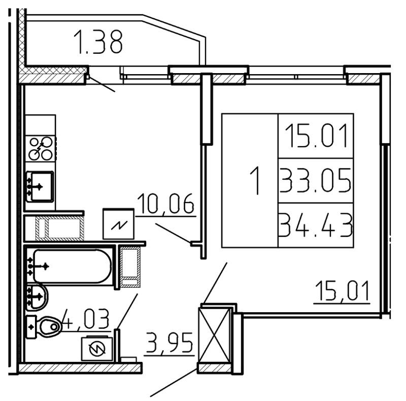 Планировка Однокомнатная квартира площадью 34.43 кв.м в ЖК «Yoga»
