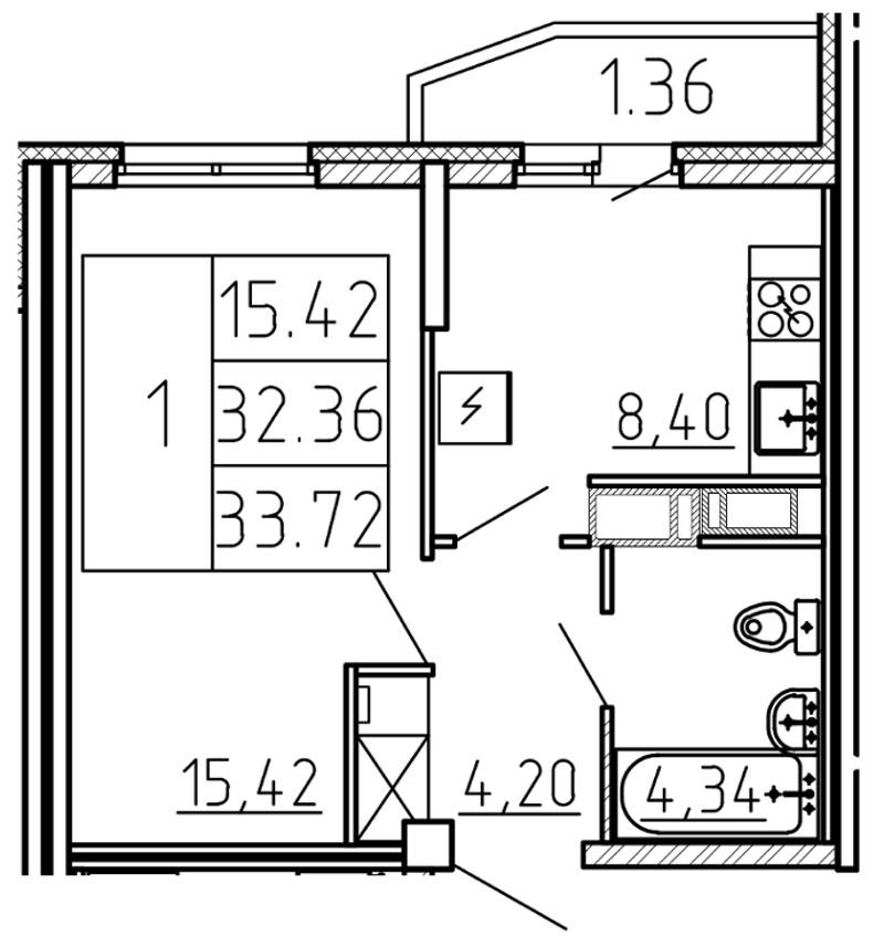 Планировка Однокомнатная квартира площадью 33.72 кв.м в ЖК «Yoga»