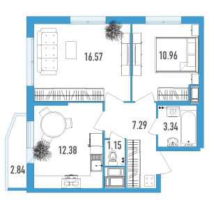 Планировка Двухкомнатная квартира площадью 52.54 кв.м в ЖК «Йога 2»