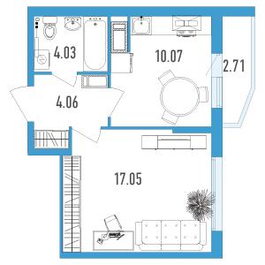Планировка Однокомнатная квартира площадью 36.57 кв.м в ЖК «Йога 2»