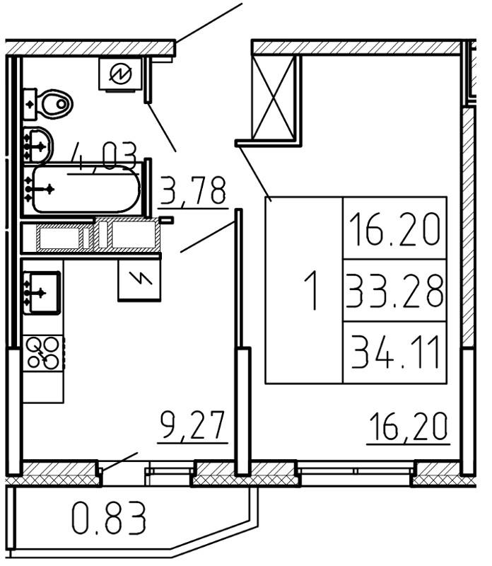 Планировка Однокомнатная квартира площадью 34.11 кв.м в ЖК «Yoga»