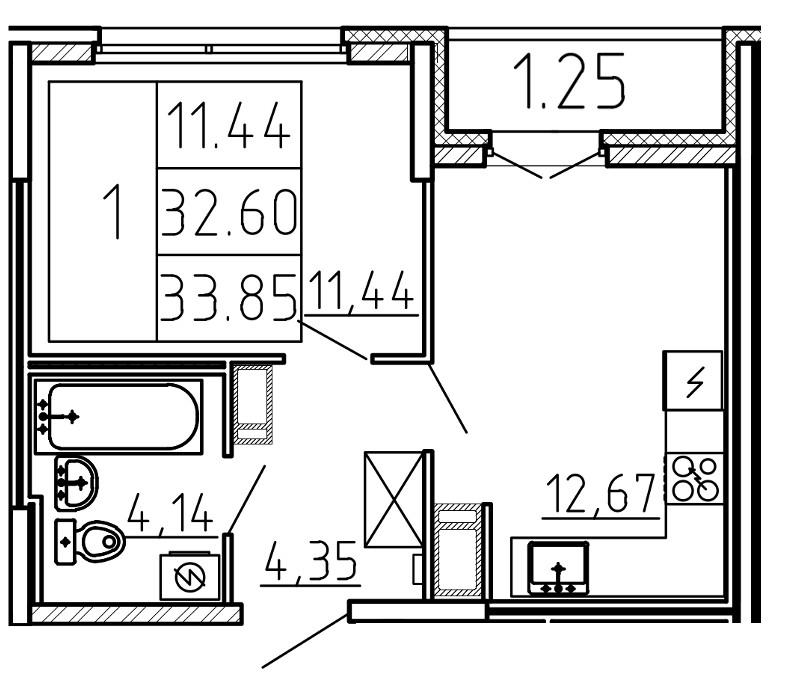 Планировка Двухкомнатная квартира (Евро) площадью 33.85 кв.м в ЖК «Yoga»