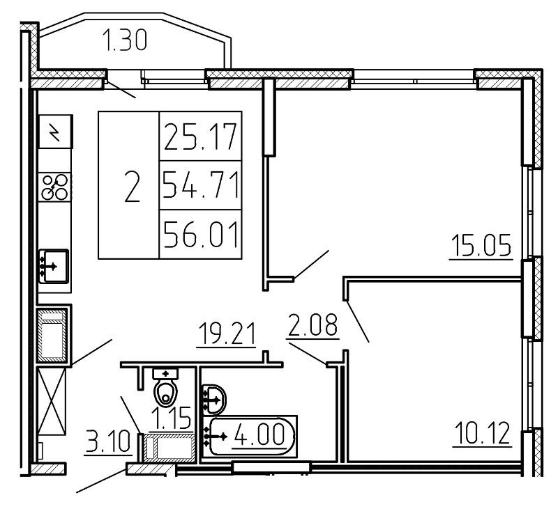Планировка Трёхкомнатная квартира (Евро) площадью 56.01 кв.м в ЖК «Yoga»