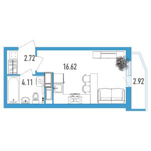 Планировка Однокомнатная квартира площадью 24.33 кв.м в ЖК «Йога 2»